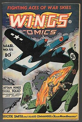 Wings Comics #55 March 1945 Fiction House Good Girl Art Nazi Airplane Attack