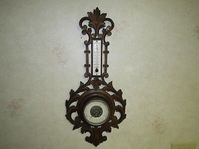 Antique Black Forest French Carved Oak Wall Aneroid Barometer & Thermometer
