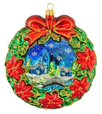 Wreath with Red Flowers and Winter Scene Polish Glass Christmas Tree Ornament