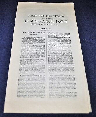 Vintage 1883 Prohibition Party Kansas Political Temperance Facts Prohibition
