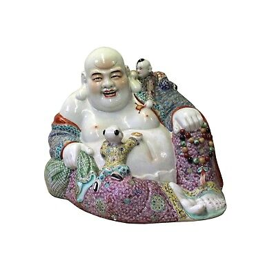 Chinese Porcelain Color Reclining Happy Buddha w Kids Statue cs4210
