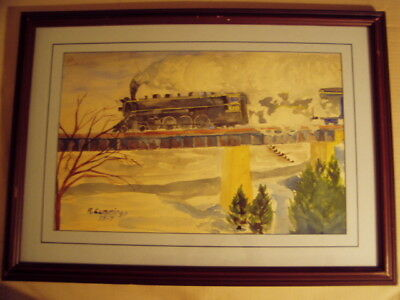 Original Watercolor Painting Signed R Cummings Union Pacific Railroad Train 1975