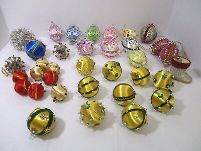 Lot of 35, Vintage Handmade Satin Sequined & Beaded Christmas Ornaments