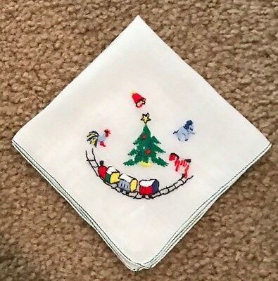 Vintage CHRISTMAS Child's Embroidered Hanky Hankie Rooster Train Horse