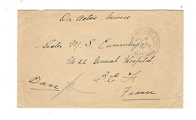 Ww1 1918 Cover W/letter To France, Ref: Bomb By Hospital