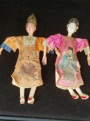 ANTIQUE PAIR SIGNED CHINESE OPERA DOLLS ornate silk embroidered clothing