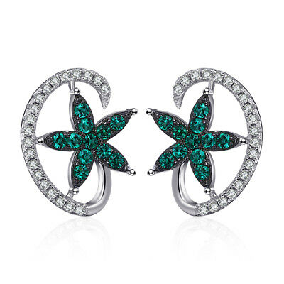 Jewelrypalace Lucky Star Simulated Emerald Stud Earrings 925 Sterling Silver