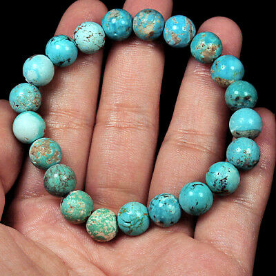 95.25Ct 100%Natural Intact Sleeping Beauty Turquoise Bead Bracelet CYS98