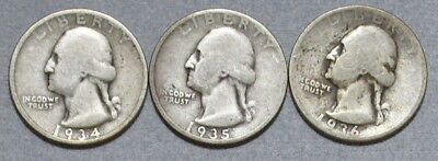Washington Quarters 1934,1935,1936 - Lot of 3 Old Silver Coins, No Reserve!