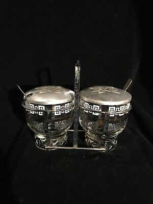 MID-CENTURY STAINLESS TRAY w/ 2 PART GLASS Cups w/ Rose LIDS JAM JELLY 7 Pce SET