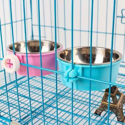 Pet Dog Puppy Stainless Steel Hanging Food Water Bowl Feeder For Crate Cage J