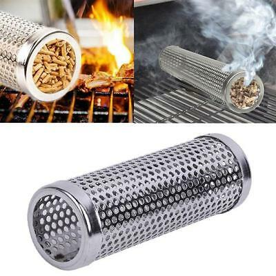 Round Smoker Wood Pellet BBQ Grill Hot Cold Smoke Generator Smoking Mesh Tube J