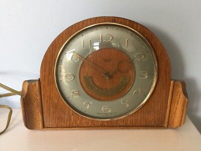 VINTAGE 1950's SMITHS SECTRIC ELECTRIC Wood Bakelite MANTEL CLOCK VGC Working