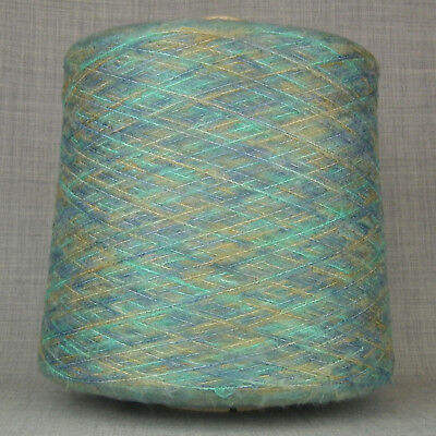 SUPER SOFT SPACE DYED YARN 600g CONE 12 BALLS BLUE OLIVE MOHAIR FEEL KNITTING