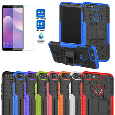Heavy Duty Armor Case KickStand Shockproof Cover For Huawei Y7 2018+Tempered Gla