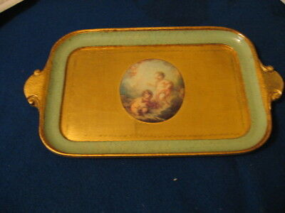 Vintage Tray  Gilt With Green Border Cherubs In Center Wood