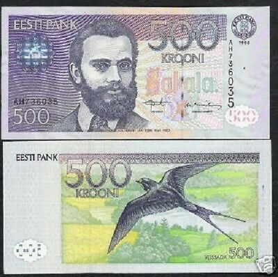 Estonia 500 Krooni P81 1996 Euro Barn Swallow Unc Scarce Bill Money Bank Note