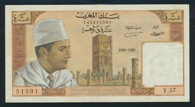 "Morocco: 1969 (AH1389) 10 Dirhams Sig. 7 ""SCARCE THIS NICE"". Pick 54e Good VF"