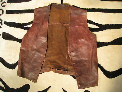 Old hand sewn brown leather waistcoat
