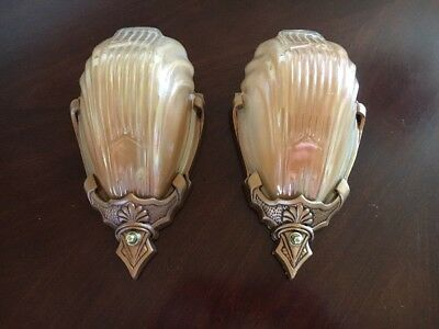 30s Art Deco Markel Wall Sconce Fixtures Antique Glass Copper Slip Shades Pair