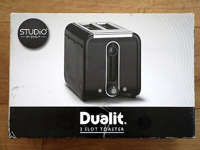 STUDIO by DUALIT 2 Slot TOASTER in black/polished trim with box!