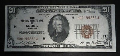 1929 Twenty Dollar $20 National Currency- H St Louis- UNC