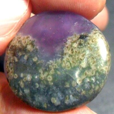 20ct Gem PURPLE CHALCEDONY Oval Cab ~Natural Brown GREEN Garden MOSS Within~