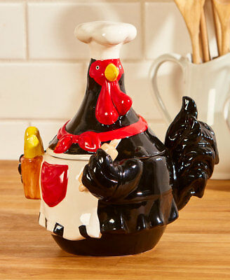 Farmhouse Chicken Cookie Jar Black Red Farm Cabin Barn Bird Chef Country Kitchen