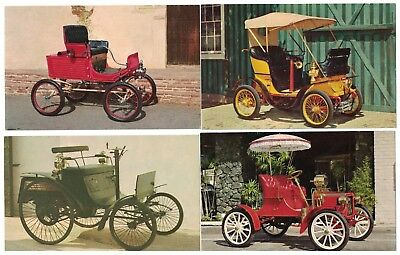 4 Vintage Compliments Of Pennzoil Oil Company Antique Car Cards Postcard