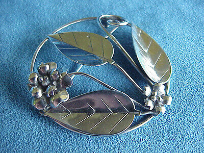 Large Vintage Antique Circa 1940 Signed Sterling Silver Danish Style Brooch Pin