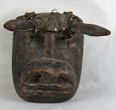Small Antique Guatemala Carved Wood Torito Bull Dance Mask