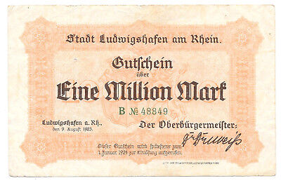 Ludwigshafen am Rhein - 1 Million Mark - 9.8.1923