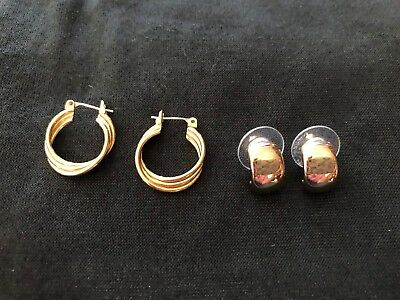 Vintage Two Pairs of Monet Gold Tone Pierced Earrings Excellent Styles