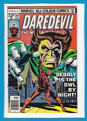 "Daredevil #145_May 1977_Vf_""deadly Is The Owl By Night""_Bronze Age Marvel_Uk!"