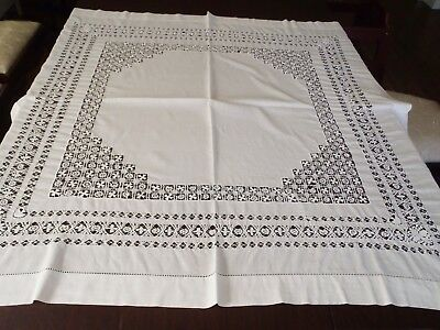 "Antique linen handmade white work lace Tablecloth 49"" x 49"""