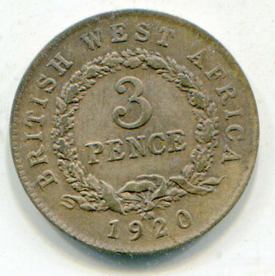 British West Africa 3 Pence 1920 KN KM-10b nice coin scarce  lotsep4015
