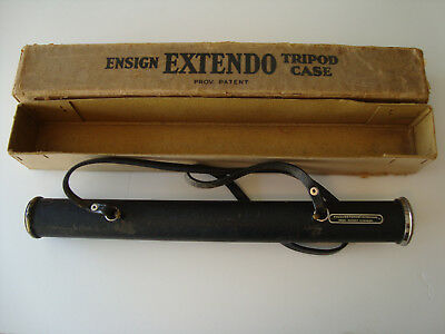 Vintage Brass Ensign Extendo Camera Tripod With Case And Original Box Extendabl