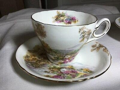 Shelley Bone China Cup/saucer England        0187 Heather Pattern