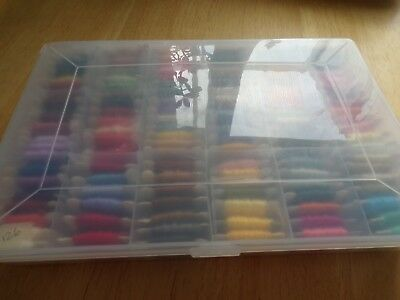 **Large Amount of 126 DMC Embroidery Cottons in Plastic Storage Box**