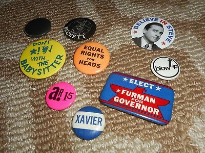 Pinback Button Lot (9) Pin Vintage Xavier College Political Steve Carrel Movie