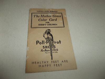 Unused Vtg Poll Parrot Shoes Advertising Mother Goose Color Card - Watercolor