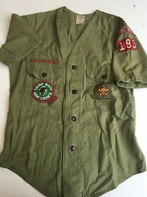 Vintage 1960s Boy Scouts BSA Uniform Camp Shirt with various patches