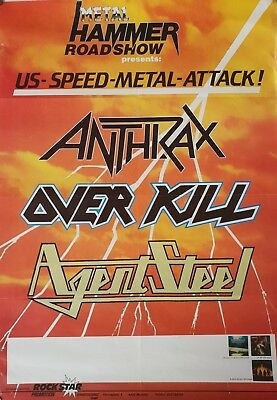 ANTHRAX original vintage 1986 US  SPEED METAL ATTACK poster OVERKILL AGENT STEEL