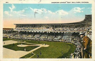 "American League (White)  ""Sox"" Baseball Park Postcard 1923 Postmark"