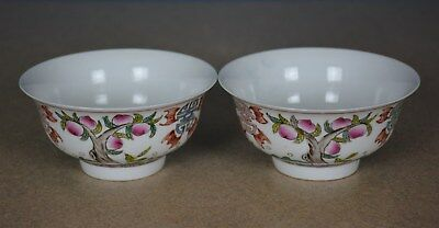 Fine Pair Of Antique Chinese Famille Rose Porcelain Bowls Rare A3645