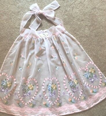 Vintage Sheer Pink Painted Floral Hostess   Half Apron Hearts Roses Purple Bows