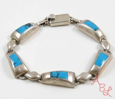 """Sterling Silver Vintage 925 Inlay Mexican Turquoise Bracelet 7"""" (27.6g) - 734332"""