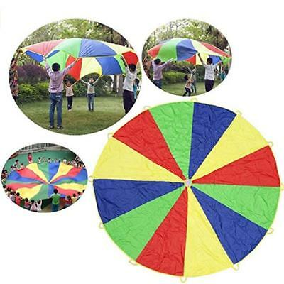 2M Kids Play Parachute Outdoor Rainbow Umbrella Sport Activity Game Toy Funny LG