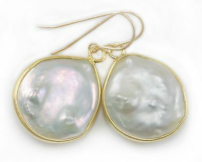White Button Pearl Earrings Large Bezel Freshwater 14k solid gold off round drop