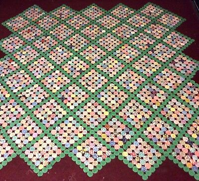 Exquisite Antique Vtg 30's Feedsack YoYo Diamond Pattern Handmade Quilt 95 X 98